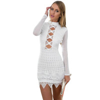 Style Lace Party Dress Short Mini Long Sleeve Bodycon Dress Black Hollow Out Sexy Dress Club Wear