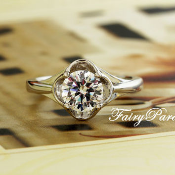 1.25 Ct  (7 mm) Four Leaf Clover man made Diamond Solitaire Engagement Wedding Promise Ring with gift box - made to order