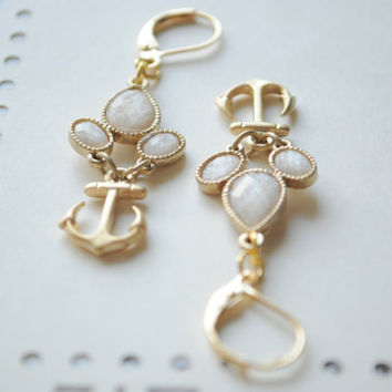 Limited Time- Anchor Me Earrings-  Matte Gold anchors hung by a Vintage trio setting of sweet stones