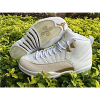 Air Jordan 12 ovo white/golden  Basketball Shoes   41---47