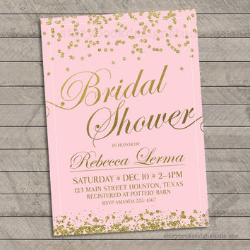 Gold Glitter and Pink Bridal Shower Invitations