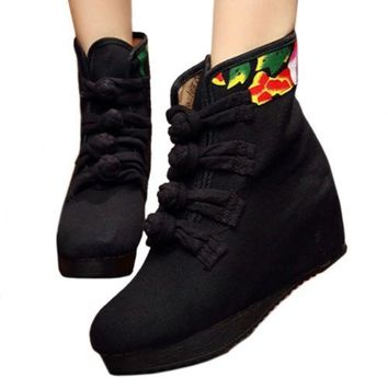 Four Shoelace Vintage Beijing Cloth Shoes Embroidered Boots   macrame black thin