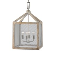 Nashua 4-Light Wooden Lantern Pendant Lighting Fixture by Uttermost