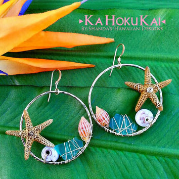 Under the Sea Wire Wrapped Starfish Hoop Earrings