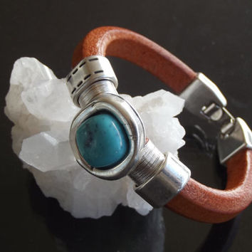 Leather bracelet ,turquoise stone and silver plated findings