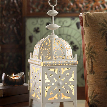 White Moroccan Medallion Table Lamp