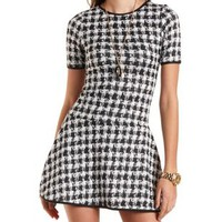 Faux Leather Trim Houndstooth Dress by Charlotte Russe - Black/White