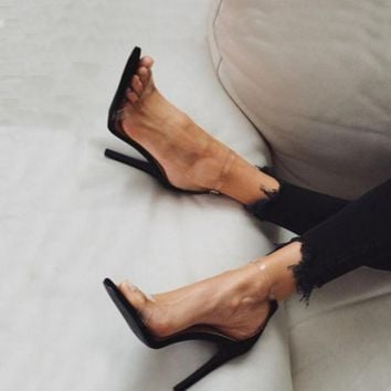 Hot selling trend transparent nude color high-heeled sandals with high heels