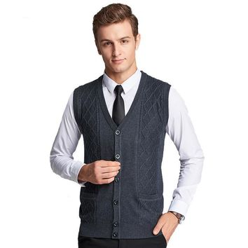 Men's Knitted V-neck Sleeveless Wool Striped Single Breasted Sweater Fashion Casual Solid Slim Vest