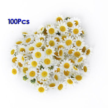 FJS Approx 100pcs Artificial Gerbera Daisy Flowers Heads for DIY Wedding Party