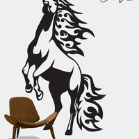 Vinyl Wall Art Decal Sticker Horse Mustang in Flames #0013