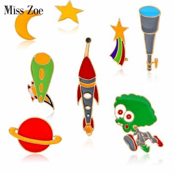 Trendy Miss Zoe Star Moon Meteor Alien Telescope Spaceship Planet Brooch Button Pins Denim Jacket Pin Badge Astronomy Jewelry Gift AT_94_13