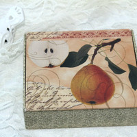 Boxed Blank Note Cards , All Occasion Greeting Cards , Stationery in Pretty Box , Blank Note Card Set , Pear Fruit Note Cards Old Script