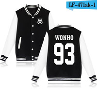 Monsta X Wonho Black White Korean Pop Kpop jacket album kpop Baseball Letterman style fashion trendy  SQ12017