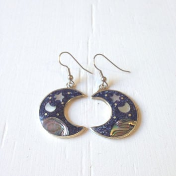 10% OFF SALE Vintage Galaxy Abalone Earrings