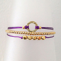 Triple Gold and Purple Friendship Bracelet with Adjustable Cord