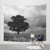 Tree tapestry, tree wall art, photo tapestry, large wall hanging, black and white decor, landscape decor, oversized art, nature decor