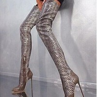 Chic Over The Knee Snakeskin Boots Sexy Pointed Toe Thigh High Boots