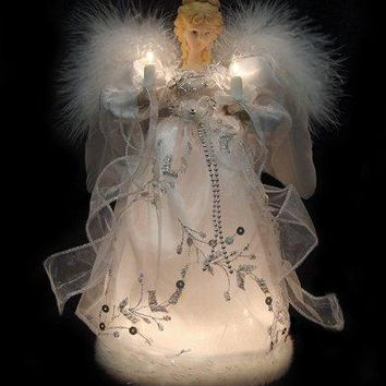 Vickerman Ice Palace Lighted White and Silver Angel Christmas Tree Topper with Clear Lights, 12""