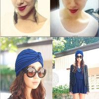 30 Colors Indian Hat Vintage Hair Head Wrap Bonnet Stretchable Turban Cap Headwrap = 1958076548