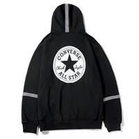 Converse 2019 new classic print 3M reflective strip loose hooded sweater Black