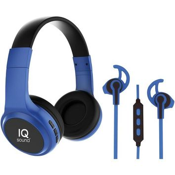 IQ Sound(R) IQ-260BT- BLU 2-in-1 Bluetooth(R) Headphones-Earbuds with Microphone Combo (Blue)