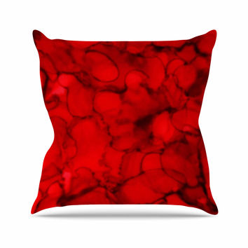 """Claire Day """"Red"""" Abstract Maroon Outdoor Throw Pillow"""