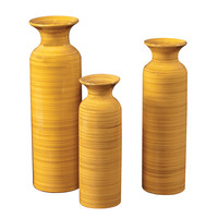 Canary Yellow w/ Striped Accents Glazed Ceramic Vases