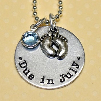 Baby Shower / Pregnancy Gift - Due Date Custom Hand Stamped Necklace by Korena Loves
