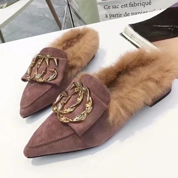 GUCCI Women Fashion Fur Pointed Toe Mules Shoes Flats Shoes