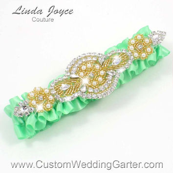 Mint Green and Gold Vintage Wedding Garter Rhinestone 531 Mint Green Custom Bridal Luxury Prom Garter Plus Size & Queen Size Available