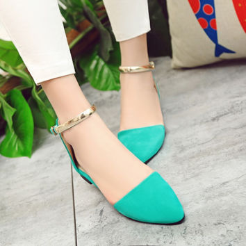 Pointed Toe Velvet Metallic Ankle Straps Flats Sandals 6326