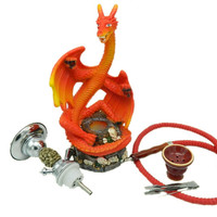 HOT NEW 1 pc Resin Dragon Smoking Hookah Shisha Water pipe for tobacco weed herb Good quality 1 hose 1 Ceramic bowl Red color Alternative Measures