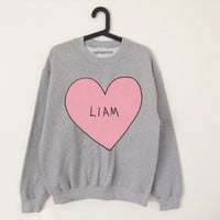 Liam pink heart grey sweater