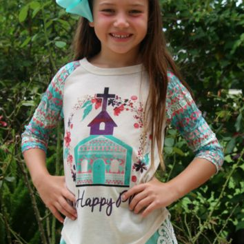 Childrens: My Happy Place Baseball Tee with Aztec Sleeves