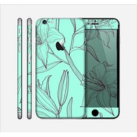 The Teal & Brown Thin Flower Pattern Skin for the Apple iPhone 6 Plus