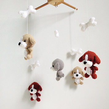 Puppy Amigurumi Baby Mobile, Dog baby mobile, Nursery decor,Dog crochet mobile, Dog crochet mobile, Baby Gift