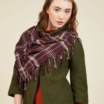 Plaid News Travels Fast Scarf in Merlot | Mod Retro Vintage Scarves | ModCloth.com