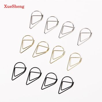 100 PCS/Set Metal Material Drop Shape Paper Clips Gold Silver Color Funny Kawaii Bookmark Office School Stationery Marking Clips