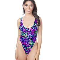 Purple Midnight Disco Baywatch Rave Bodysuit