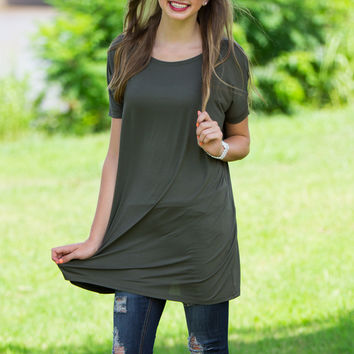 The Perfect Piko Short Sleeve Tunic-Army