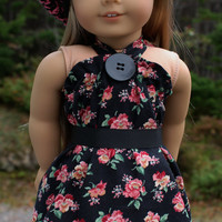 3 piece set!!  black, pink, floral halter dress, crochet hat, belt, 18 inch doll clothes,
