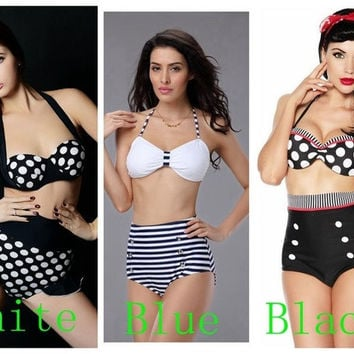 Polka Dot Vintage Retro High Waist Push Up Bandeau Bikini Swimsuit Swimwear Set Beach wear Bathing Swimming suit S-XL = 1704216580