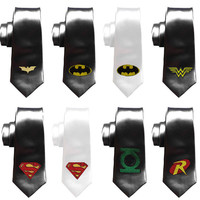 Justice League Ties, Geek Wedding ties, Grooms Comicbook superheroes skinny tie, batman tie, wonderwoman, superman, robin, green lantern