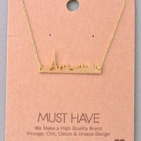 Dainty Paris City Skyline Necklace - Gold or Silver