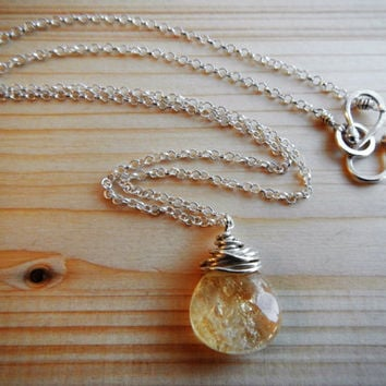 Simple Wire Wrapped Yellow Citrine and Sterling Silver Pendant, November Birthstone Necklace Gift for Her Mother's Day Gift Ready to Ship