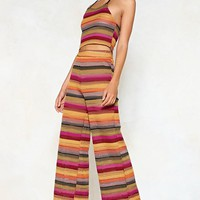 Stripe One Halter Top and Wide-Leg Pants Set