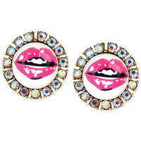 Betsey Johnson Lips Round Stud Earrings