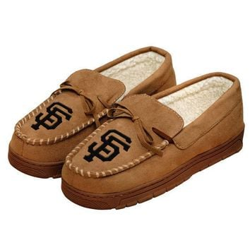 MLB SF San Francisco Giants Moccasin Slipper Tan
