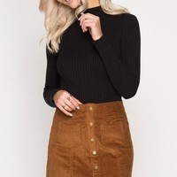 Brown Corduroy Button Mini Skirt (final sale)